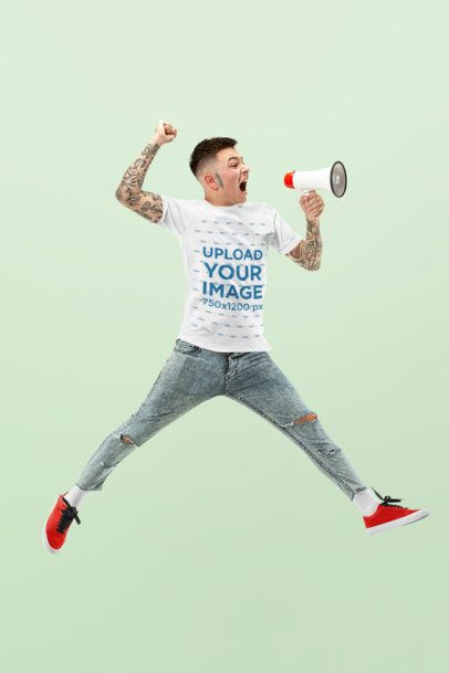 T-Shirt Mockup Featuring a Man Jumping with a Megaphone 34388-r-el2