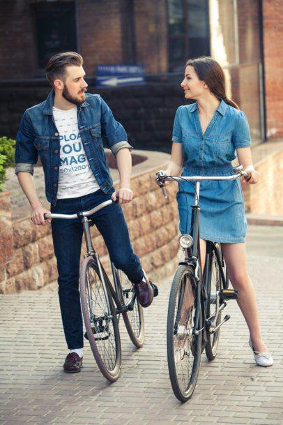 T-Shirt Mockup of a Couple Riding City Bikes 34595-r-el2