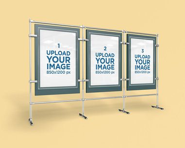 Mockup of Three Poster Displays Featuring a Solid Color Backdrop 4155-el1
