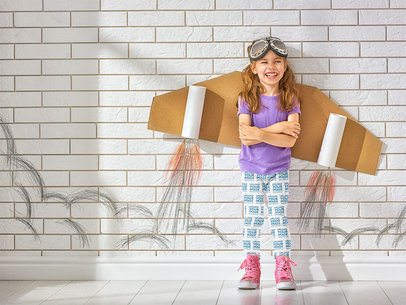 Leggings Mockup of a Little Girl Wearing a Cardboard Jetpack 34574-r-el2