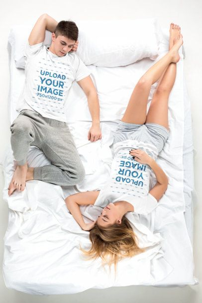 T-Shirt Mockup of a Couple Lying in Bed 34400-r-el2