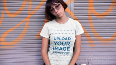 T-Shirt Video of a Dark-Haired Woman with Sunglasses 12967