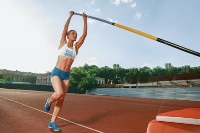 Mockup of a Woman with a Sports Bra Practicing Javelin Throw 34399-r-el2