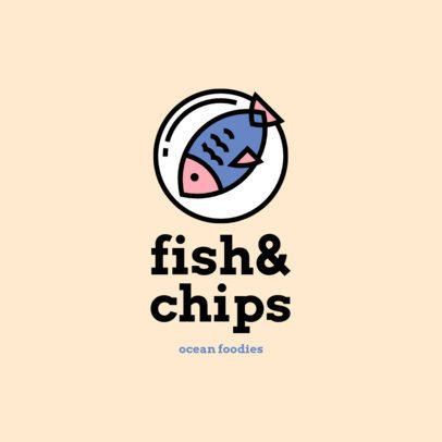 Fun Logo Maker for a Seafood Restaurant with a Minimalistic Look 1490a-el1