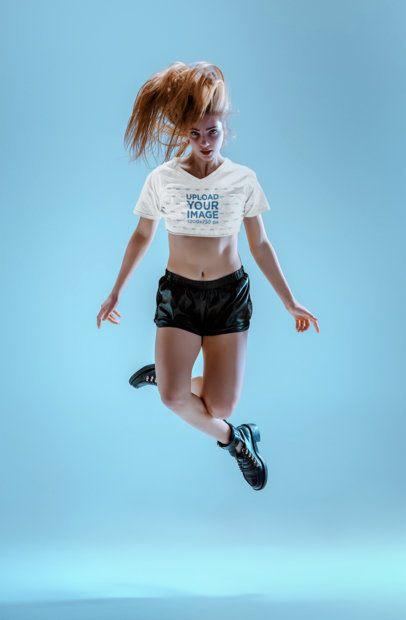 Crop Top Tee Mockup of a Dancer Jumping 34586-r-el2