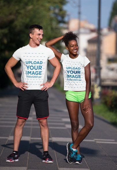 Mockup of a Fitness Couple in T-Shirts Doing Street Workout 34394-r-el2