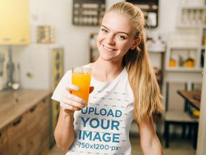 T-Shirt Mockup of a Woman Drinking Orange Juice 34693-r-el2
