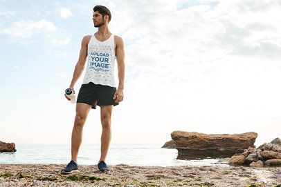 Front View Mockup of a Man Wearing a Tank Top on the Beach 34198-r-el2