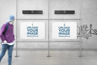 Mockup of Two Horizontal Posters in an Urban Gallery 4105-el1