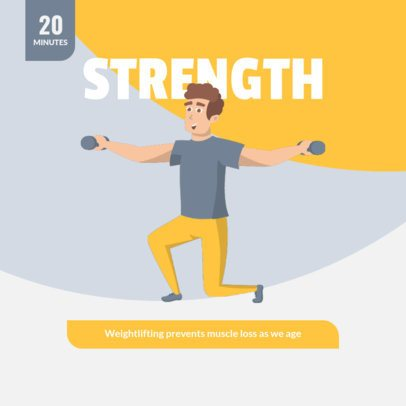 Fitness-Themed Instagram Post Maker for a Home Weight-Lifting Routine 1478c-el1