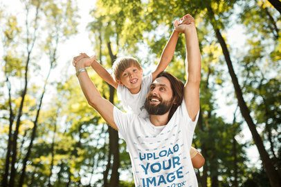 Tee Mockup of a Bearded Man Lifting His Son over His Shoulders 34690-r-el2