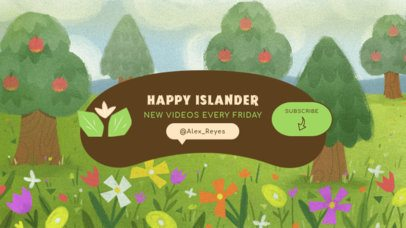 YouTube Banner Creator Featuring an Animal Crossing-Inspired Illustrated Landscape 2543e