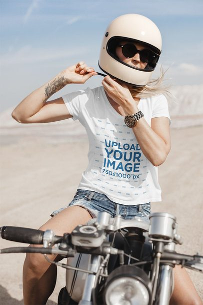 T-Shirt Mockup Featuring a Woman on a Motorcycle in the Desert 35080-r-el2