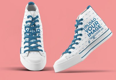 Mockup of a Pair of Canvas Sneakers Against a Plain Background 3273-el1