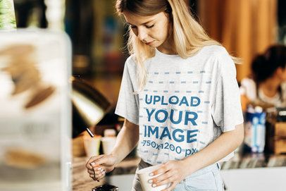 Mockup of a Barista Wearing a Heathered T-Shirt 34626-r-el2