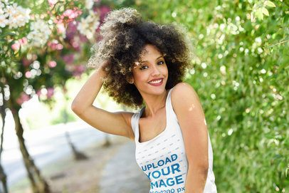 Tank Top Mockup of a Woman with Natural Curly Hair Posing by a Street 34223-r-el2