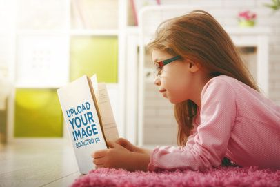 Book Mockup of a Little Girl Reading in Her Room 34669-r-el2