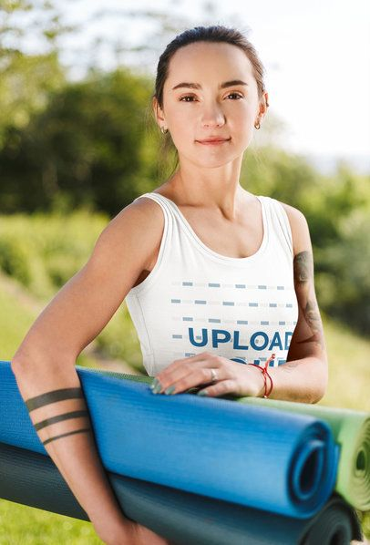 Tank Top Mockup of a Woman with Tattoos Holding a Yoga Mat 35019-r-el2