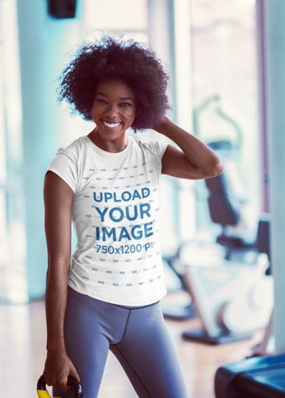 T-Shirt Mockup of a Smiling Woman at the Gym 34450-r-el2