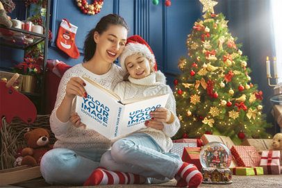 Mockup of Mother and Daughter Reading a Christmas Book 34671-r-el2