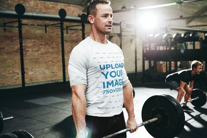 Long Sleeve Tee Mockup of a Man Lifting a Barbell in a Gym 34271-r-el2