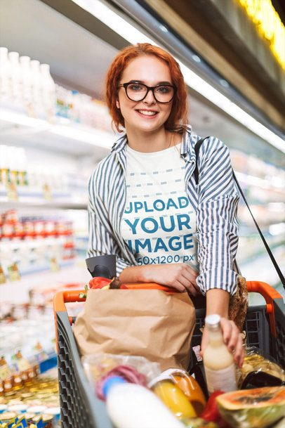 T-Shirt Mockup of a Happy Young Woman Grocery Shopping 34489-r-el2