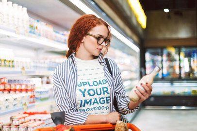 T-Shirt Mockup of a Woman Shopping at a Supermarket 34488-r-el2