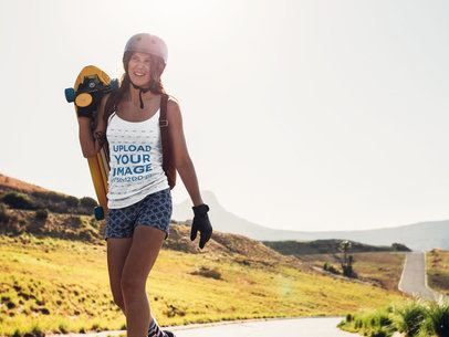 Heathered Tank Top Mockup of a Cool Woman with a Longboard 34221-r-el2