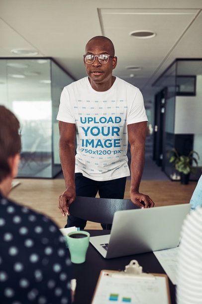 T-Shirt Mockup of a Man at an Office Meeting 34272-r-el2