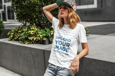 T-Shirt Mockup of a Hipster Woman in an Urban Setting 4321-el1