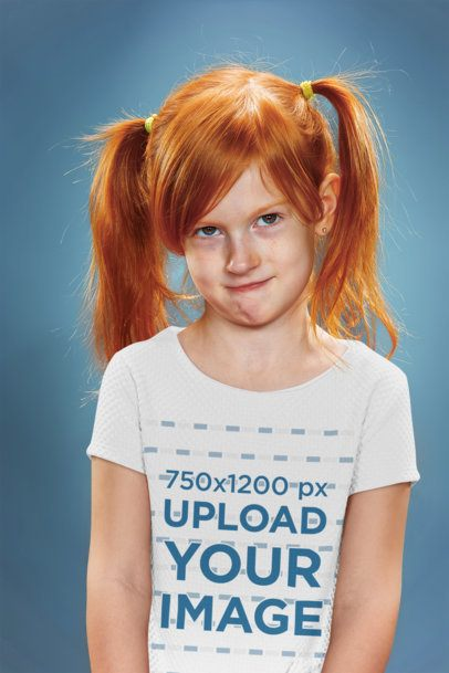 Tee Mockup of a Red-Hair Girl Doing a Funny Face 34601-r-el2