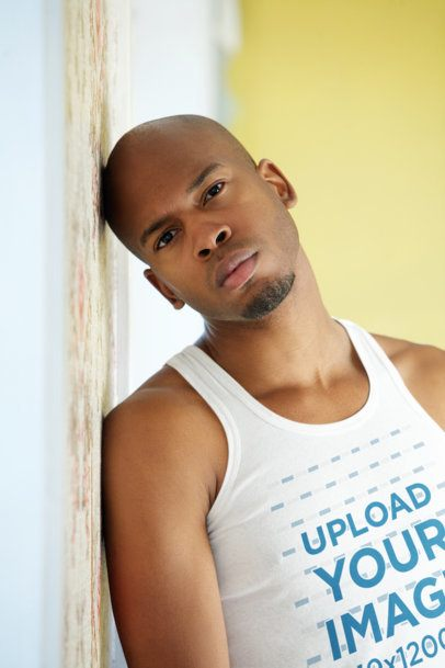 Tank Top Mockup of a Serious-Looking Man Leaning Against a Wall 34792-r-el2