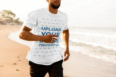 Cropped Face Mockup of a Bearded Man with a T-Shirt Running on the Beach 4345-el1