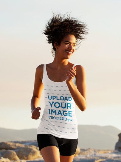 Tank Top Mockup of a Female Runner with Natural Curly Hair 34798-r-el2