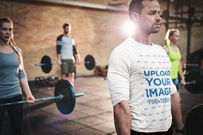 Long Sleeve Tee Mockup of a Man Deadlifting in a Gym 34275-r-el2
