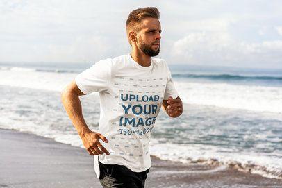 T-Shirt Mockup of a Bearded Jogger at the Beach 4346-el1