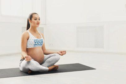 Sports Bra Mockup of a Pregnant Woman Doing Yoga 34411-r-el2