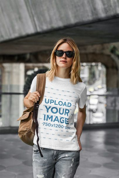T-Shirt Mockup Featuring a Cool Woman in an Urban Setting 4323-el1