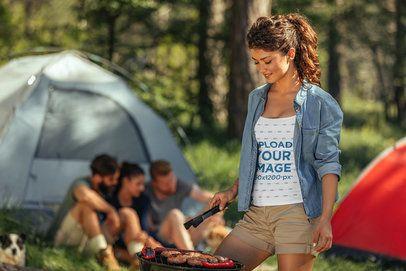 Tank Top Mockup of a Woman Making a Barbecue at a Campsite 34300-r-el2