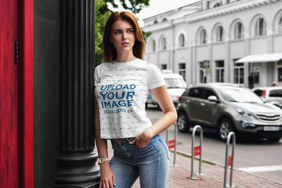 Mockup Featuring a Woman Wearing a Customizable Tee by a Street 4296-el1