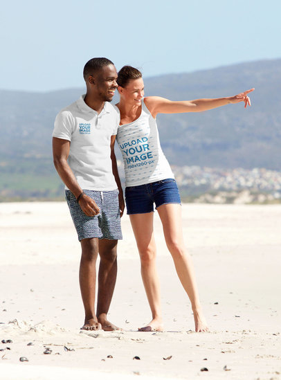 Mockup of a Woman in a Tank Top with Her Boyfriend Wearing a Polo Shirt at the Beach 34803-r-el2
