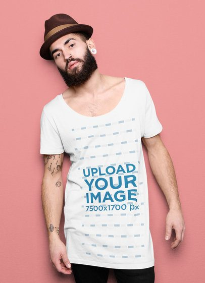 Slouchy Tee Mockup Featuring a Bearded Man at a Studio 34652-r-el2
