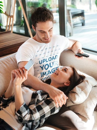T-Shirt Mockup of a Man Hanging with His Girlfriend on a Couch 34618-r-el2