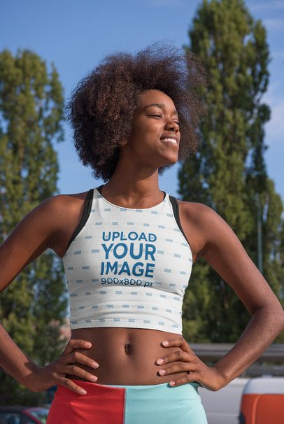 Sports Bra Mockup of a Female Athlete with Natural Hair 34403-r-el2
