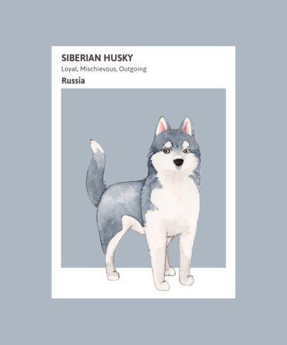 Watercolor T-Shirt Design Maker Featuring a Husky 1529a-el1