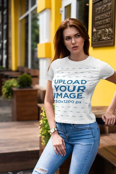T-Shirt Mockup of a Long-Haired Woman Posing 4297-el1
