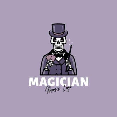 Cartoonish Logo Maker for a Musician Featuring a Magician Skeleton 1628c-el1