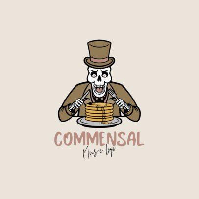 Musician Logo Maker Featuring a Skeleton Eating Pancakes 1628d-el1