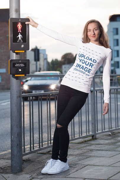 Long-Sleeve Tee Mockup of Woman Posing by a Traffic Light Post 4334-el1