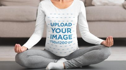 Mockup of a Pregnant Woman Doing Yoga in a Long Sleeve Tee 34423-r-el2